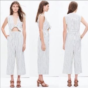 Madewell Tie Front Culotte Jumpsuit in Ikat Stripe